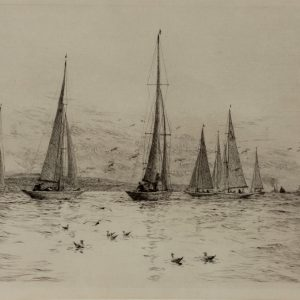 WILLIAM LIONEL WYLLIE - ETCHING - A DRIFTING MATCH