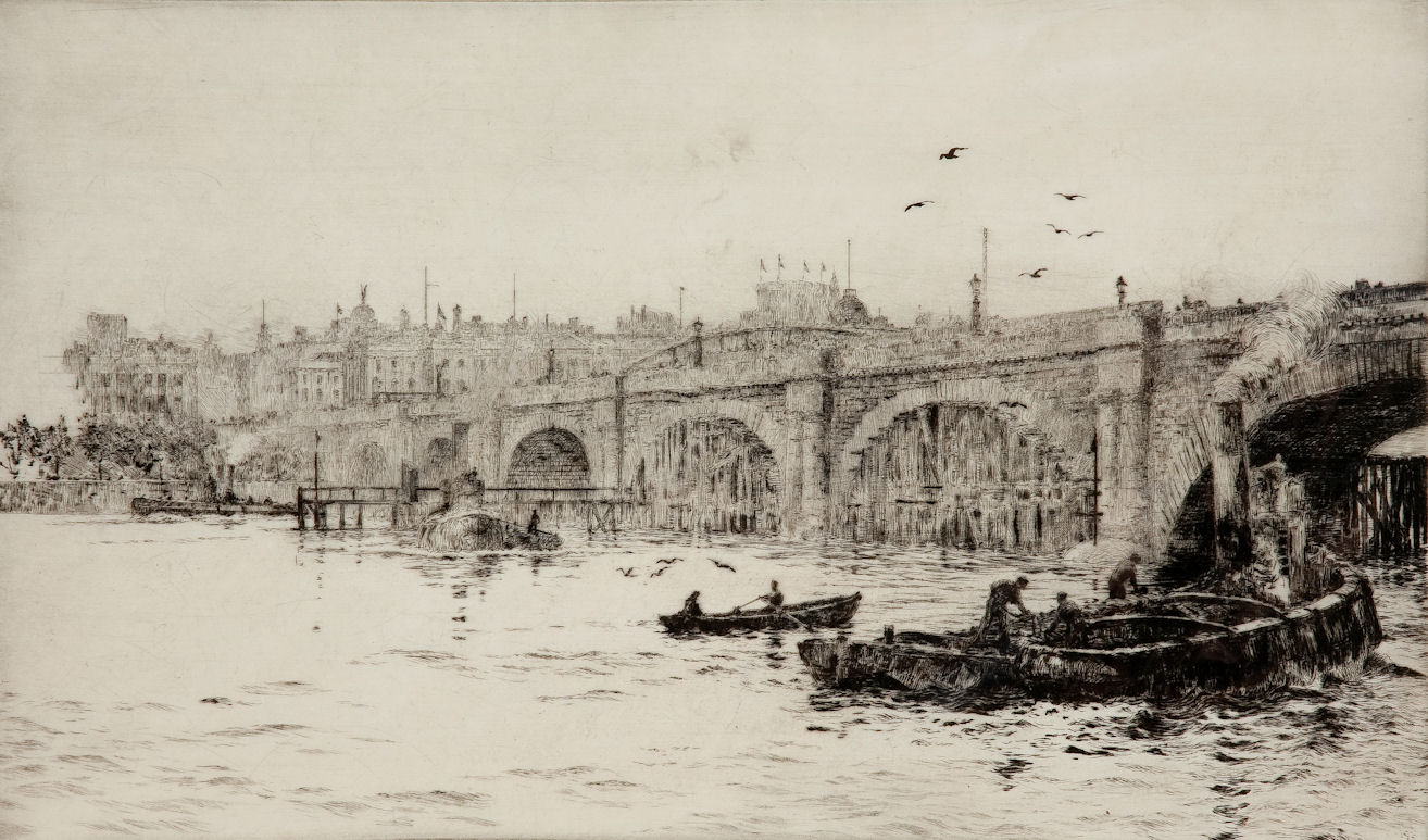WILLIAM LIONEL WYLLIE - ETCHING - LONDON BRIDGE