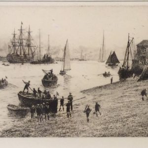 WILLIAM LIONEL WYLLIE - ETCHING - SEASCOUTS PORTSMOUTH