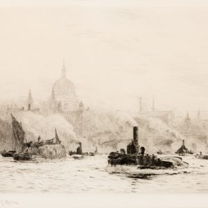 WILLIAM LIONEL WYLLIE - ETCHING - ST PAULS LONDON