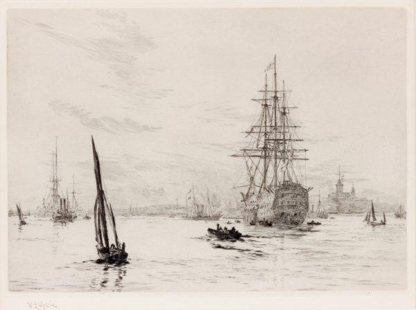 WILLIAM LIONEL WYLLIE - ETCHING - HMS VICTORY IN PORTSMOUTH HARBOUR