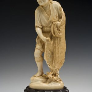 JAPANESE IVORY OKIMONO FISHERMAN