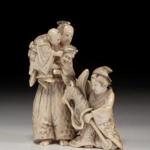 JAPANESE IVORY OKIMONO OF A SAMURAI GROUP