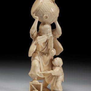 JAPANESE IVORY OKIMONO OF TWO BOYS
