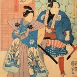JAPANESE WOODBLOCK PRINT - UTAGAWA KUNIYOSHI - two Samurai