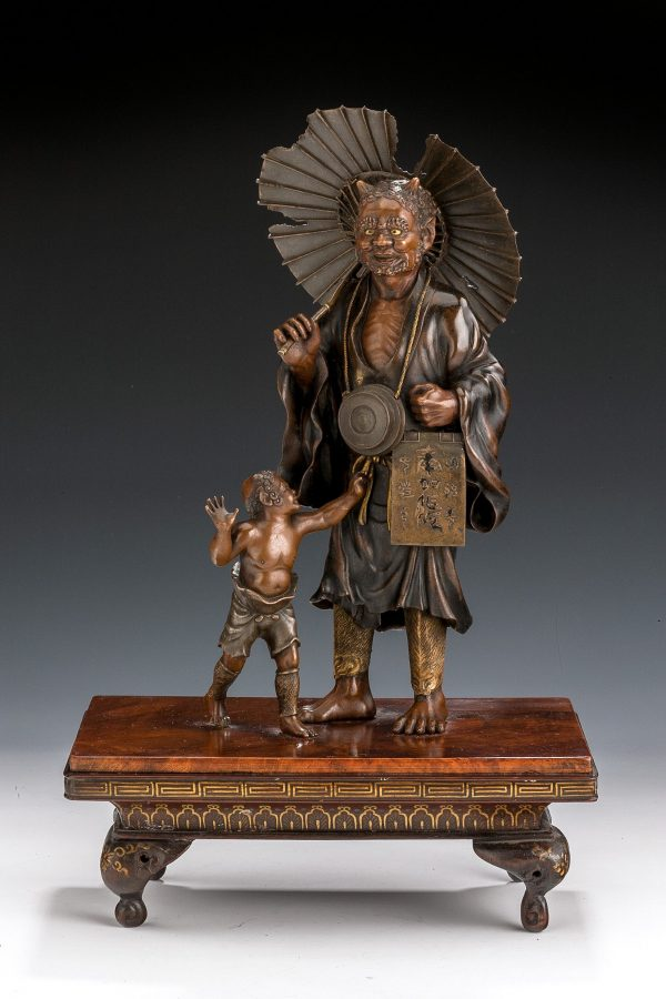ANTIQUE JAPANESE BRONZE ONI GROUP