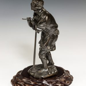 ANTIQUE JAPANESE BRONZE FIGURE OF A FARMER