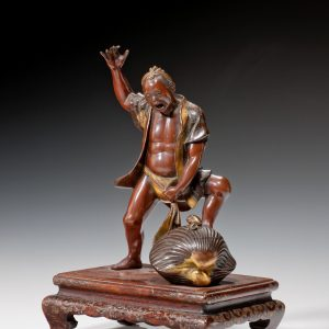 ANTIQUE JAPANESE BRONZE FIGURE OF A MAN BY MIYAO