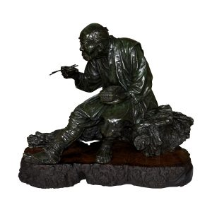 FANTASTIC ANTIQUE BRONZE FIGURE OF A PEASANT MAN BY UDAGAWA KAZUO