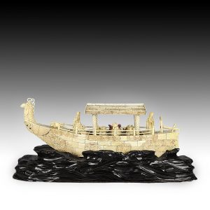 ANTIQUE JAPANESE IVORY MODEL OF THE BOAT OF GOOD FORTUNE