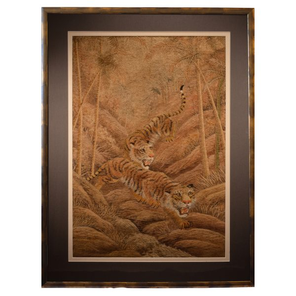 PAIR OF JAPANESE SILK EMBROIDERY PICTURES