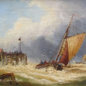 CHARLES JOHN DE LACEY - OIL PAINTING - SHIPS INTO HARBOUR