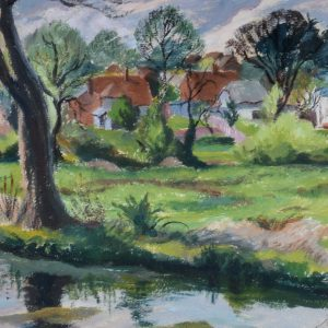 MARGARET GRAEME NIVEN-OIL PAINTING-UPPER CLATFORD ON THE RIVER TEST