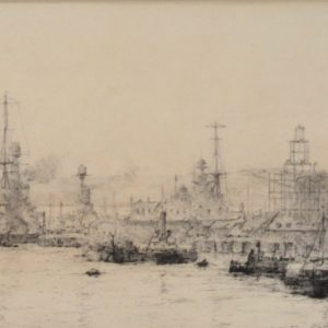 WILLIAM LIONEL WYLLIE-ETCHING-PORTSMOUTH DOCKYARD WATERFRONT
