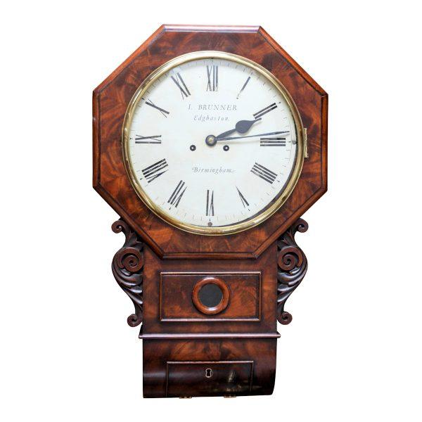 ANTIQUE DROP DIAL CLOCK BY IGNATIUS BRUNNER