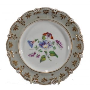 SET OF 12 ANTIQUE STAFFORDSHIRE PLATES WITH FLOWERS AND BUTTERFLIES
