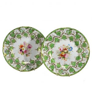 PAIR ANTIQUE PAINTED STAFFORDSHIRE PLATES