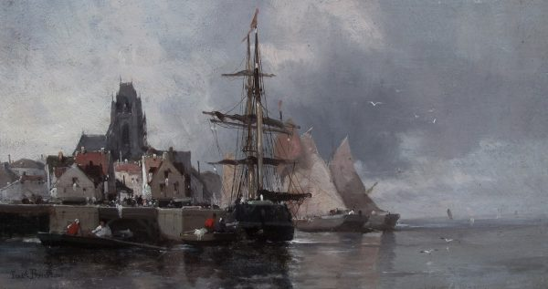 FERDINAND BONHEUR-OIL PAINTING-SHIPPING IN A FRENCH PORT