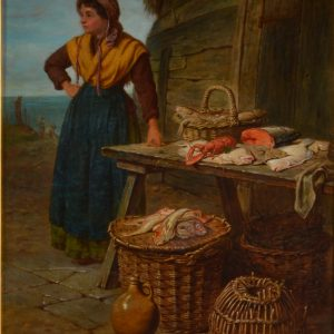 HENRY CHARLES BRYANT-OIL PAINTING-SEAFOOD MARKET STALL