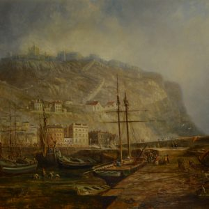 THOMAS COOPER MOORE-OIL PAINTING-SCARBOROUGH HARBOUR