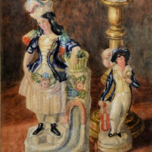 GEORGE ANDERSON SHORT-WATERCOLOUR-STAFFORDSHIRE FIGURES