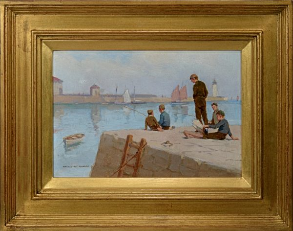 farquhar-mcgillivray-knowles-oil-painting-boys-cornish-harbour-for-sale-DSC_9596