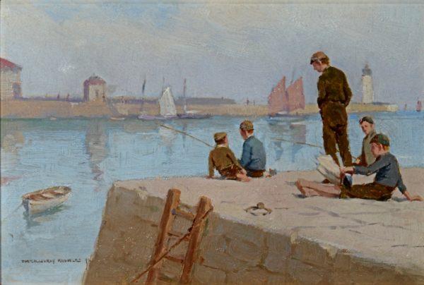 FARQUHAR McGILLIVRAY KNOWLES-OIL PAINTING-BOYS FISHING CORNISH HARBOUR