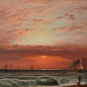 ISAAC WALTER JENNER-OIL PAINTING-SUNSET SEAFORD BAY