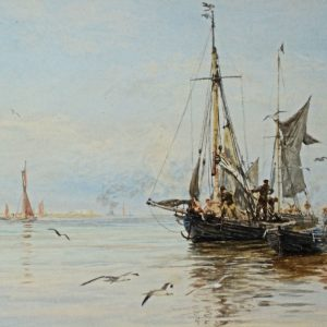 WILLIAM LIONEL WYLLIE-WATERCOLOUR-MEDWAY
