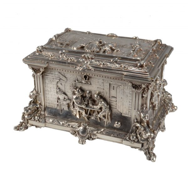 ANTIQUE CONTINENTAL SILVER PLATED JEWELLERY CASKET