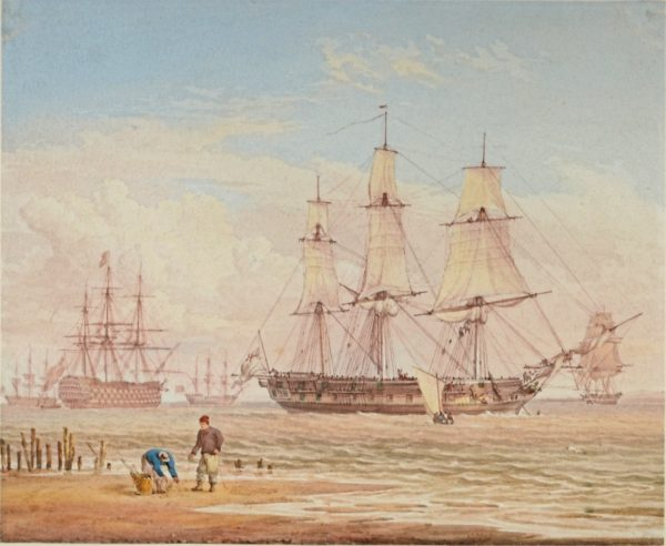WILLIAM JOY-WATERCOLOUR-ROYAL NAVAL SHIPS OF THE COAST