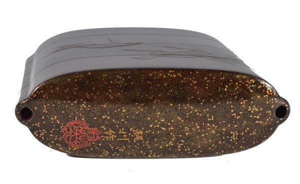 three-case-inro-Japanese-black-lacquer-Kajikawa-saku-antique-DSC_9977