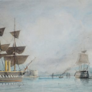 WILLIAM EDWARD ATKINS-WATERCOLOUR-FRIGATE LEAVING PORTSMOUTH HARBOUR