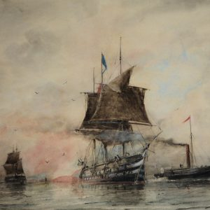 WILLIAM EDWARD ATKINS-WATERCOLOUR-ROYAL NAVY SHIP LEAVING HARBOUR