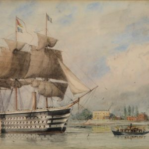 WILLIAM EDWARD ATKINS-WATERCOLOUR-HMS WELLINGTON