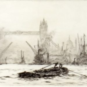 WILLIAM LIONEL WYLLIE-ETCHING-POOL OF LONDON TOWER BRIDGE