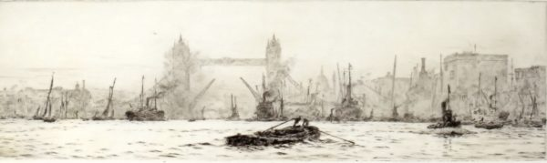 WILLIAM LIONEL WYLLIE-ETCHING-POOL OF LONDON TOWER BRIDGE
