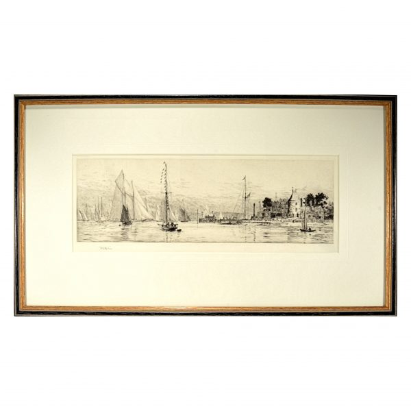 william-wyllie-etching-royal-yacht-squadron-cowes-antique-DSC_9926