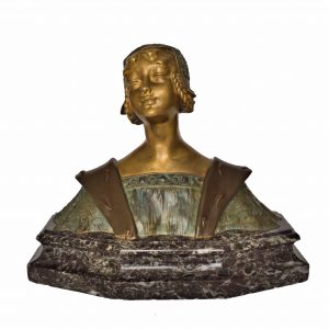 ART NOUVEAU BRONZE FEMALE FIGURE BY E ROUSSELET