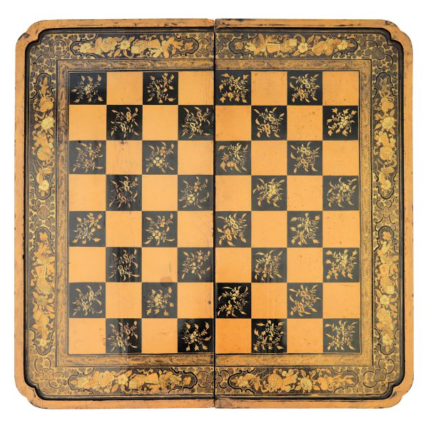 ANTIQUE CHINESE LACQUER CHESS & BACKGAMMON BOARD
