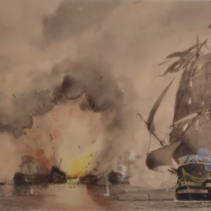 WILLIAM EDWARD ATKINS-WATERCOLOUR-BATTLE OF THE NILE