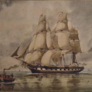 WILLIAM EDWARD ATKINS-WATERCOLOUR-FRIGATE UNDER FULL SAIL