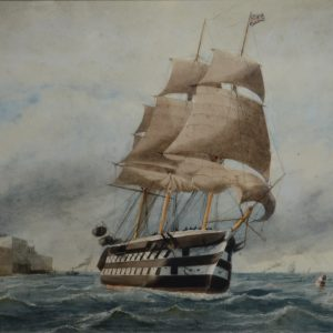 WILLIAM EDWARD ATKINS-WATERCOLOUR-WARSHIP PORTSMOUTH