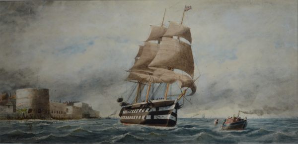 WILLIAM EDWARD ATKINS-WATERCOLOUR-WARSHIP PORTSMOUTH