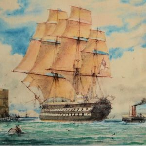 WILLIAM EDWARD ATKINS-WATERCOLOUR-SHIP OF THE LINE