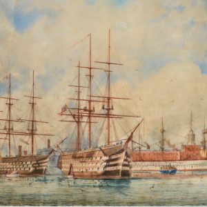 WILLIAM EDWARD ATKINS-WATERCOLOUR-SHIPS OF THE LINE PORTSMOUTH