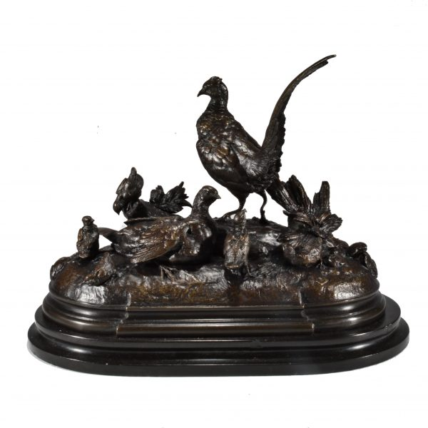 JULES MOIGNIEZ-BRONZE-PHEASANTS WITH CHICKS