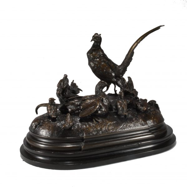 jules-moigniez-bronze-pheasants-cock-hen-chicks-antique-DSC_0471a
