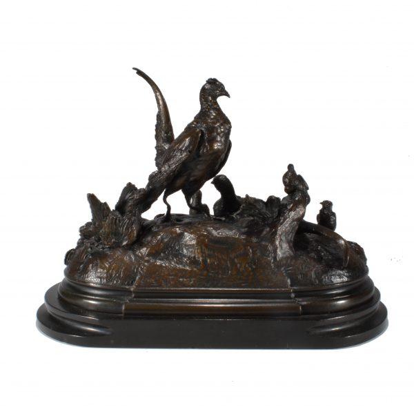 jules-moigniez-bronze-pheasants-cock-hen-chicks-antique-DSC_0473a