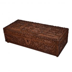 ANTIQUE ANGLO INDIAN CARVED WOODEN BOX